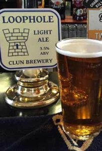 Beer tap of Clun Brewery's Loophole light ale