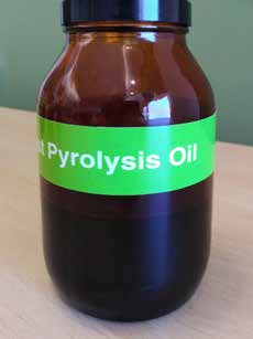 Bottle of Pyrolysis oil